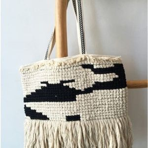 NWT America & Beyond BOHO Woven Tote with Tassels